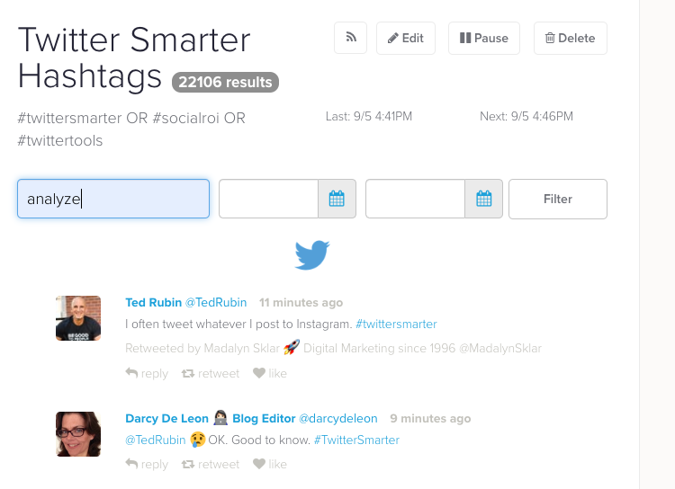 Track tweet metrics with Twilert
