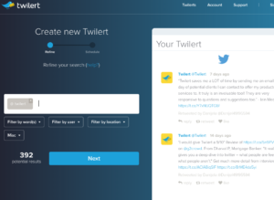 track twitter mentions with Twilert